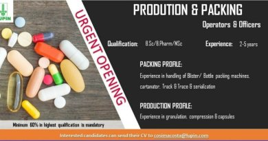 LUPIN LIMITED Urgently Opening for Production and Packing Department  Apply Now