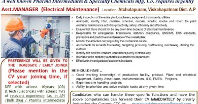 Mfg Immediate Openings for Asst Manager Electrical Maintenance Pharma Intermediate and Chemicals