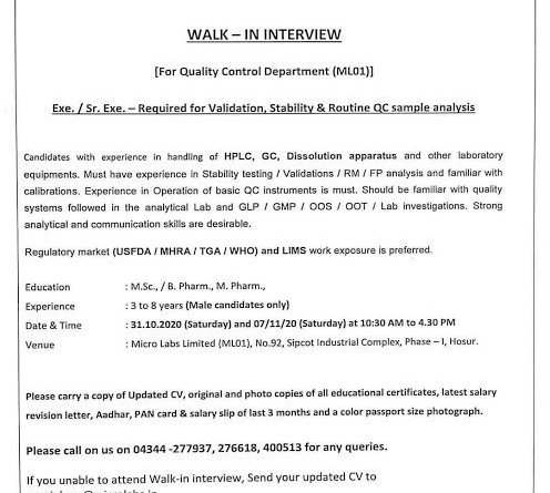 Micro Labs Limited WalkIn Interviews on 31st Oct and 7th Nov 2020