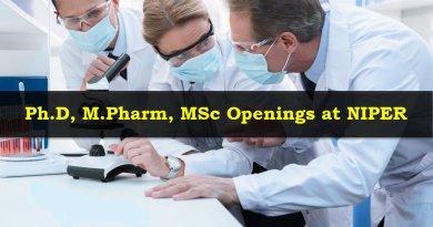 NIPER PhD MPharm MSc Openings