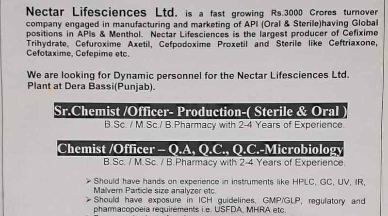 Nectar Lifesciences Walk In 1st Nov 2020 for Production QA QC Microbiology