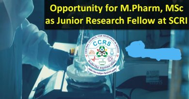 SCRI Opportunity for MPharm MSc as Junior Research Fellow