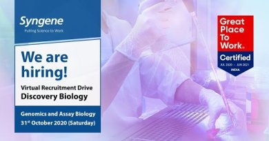 Syngene International Virtual Recruitment Drive for Discovery Biology on 31st Oct 2020