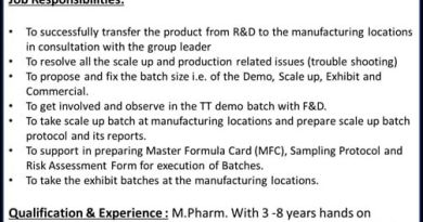 Torrent Pharma Limited Urgently Opening for Technology Transfer Apply Now