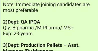 Vital Pharma Walk Ins for QA Head IPQA Production Pellets Departments Apply Now
