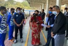 खेल मंत्री श्रीमती सिंधिया ने जबलपुर तीरंदाजी अकादमी का किया निरीक्षण