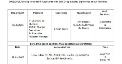 Athulitha Laboratories Pvt Ltd WalkIn Interviews for Freshers and Experienced BSc MSc MPharm Candidates on 21st Nov 2020