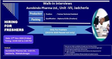 Aurobindo Pharma Ltd WalkIn Interviews for FRESHERS on 27th Nov 2020