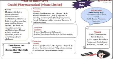 Graviti Pharmaceuticals Walk In for Production Operator Executives 62 Openings