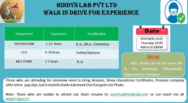 HINDYS LAB PVT LTD WalkIn Drive for Production EHS MEE Plant on 5th Nov 2020