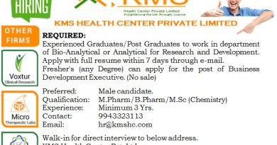 KMS Health Center Pvt Ltd Freshers and experience Msc Mpharm Bpharm Graduate PG Openings