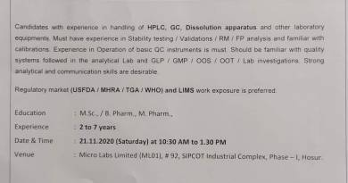 Micro Labs Limited WalkIn Interviews for Quality Control Department on 21st Nov 2020