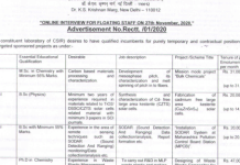 National Physical Laboratory walkin 27th Nov 2020 for Project Assistant I II Research Associate