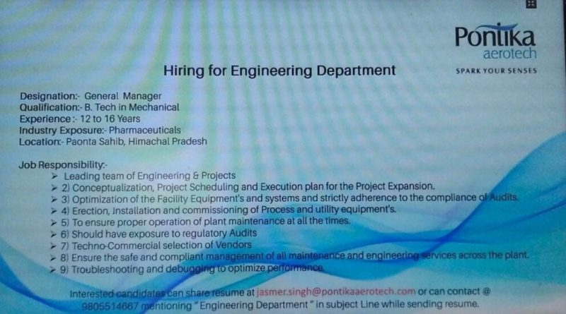 Pontika Aerotech Urgently Hiring for Engineering Department Apply Now