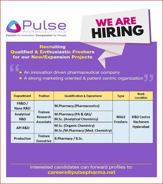 Pulse Pharmaceuticals Urgent Openings for FRESHERS in Production R and D FR and D Nano R and D Departments Apply Now