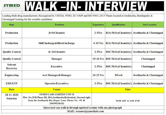 SYMED LABS LIMITED WalkIn Interviews for Freshers and Experienced in Production QC Solvent Recovery Engineering EHS ETP Departments on 28th Nov 2020