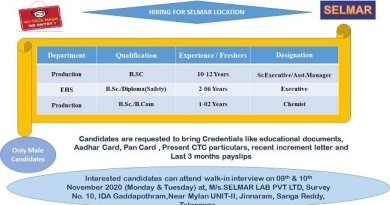 Selmar Labs Pvt Ltd WalkIn Interviews for Production EHS Departments on 9th and 10th Nov 2020