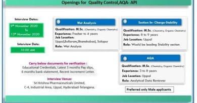 Sri Krishna Pharmaceuticals Ltd WalkIn Interviews for AQA Production QC on 9th to 13th Nov 2020