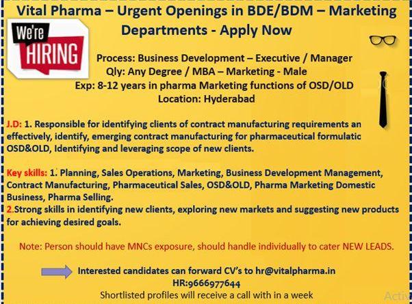 Vital pharma urgent Openings in bde bdm Marketing department Apply Now