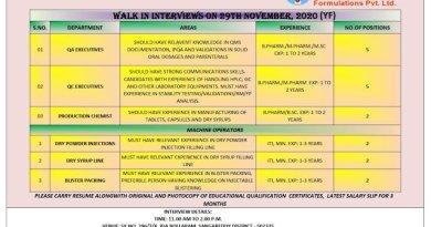 Yeluri Formulations Pvt Ltd WalkIn Interviews for QA QC Production Machine Operators on 29th Nov 2020