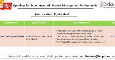 Biophore India Openings for Experienced API Project Management Professionals