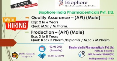 Biophore India WalkIn Interviews for Quality Assurance Production API on 2nd Jan 2021