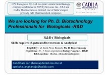 CPL Biologicals Pvt Ltd Cadila Pharma Openings for Freshers and Experienced PhD Biotechnology Professionals R and D