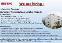 HETERO Urgent Hiring FRESHERS Jr Chemist Operator Production Department