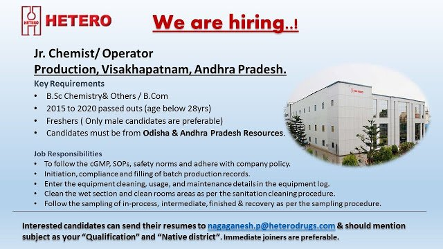 HETERO Urgent Hiring FRESHERS Jr Chemist Operator Production Department