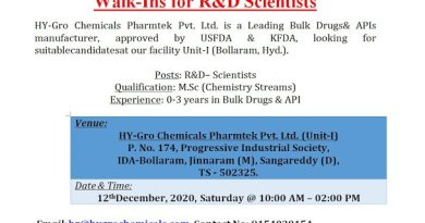 HYGRO Chemicals WalkIn Drive for Freshers and Experienced R and D Chemists on 12th Dec 2020