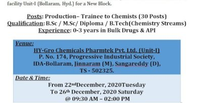 HYGRO Chemicals WalkIns for Freshers and Experienced Production Trainees to Chemists on 22nd to 26th Dec 2020