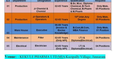 Kekule Pharma Limited WalkIn Interviews for Multiple Openings in Production Departments on 7th to 12th Dec 2020
