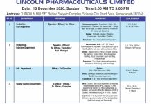Lincoln Pharma Walkin 13th Dec 2020 for Production QA QC Departments