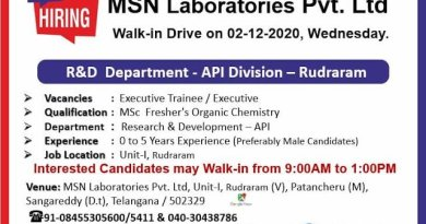 MSN Laboratories Pvt Ltd WalkIn Drive for Freshers and Experienced in AR and D R and D Departments on 2nd Dec 2020
