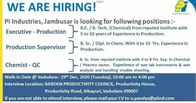 PI INDUSTRIES WalkIn Interviews for Production Quality Control on 29th Dec 2020
