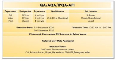 Sri Krishna Pharmaceuticals Ltd WalkIn Interviews for QA Quality Control Departments on 15th and 16th Dec 2020