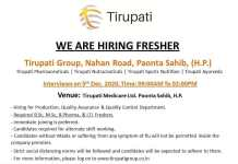 Tirupati Medicare Walkin 5th Dec 2020 for Production QC QA