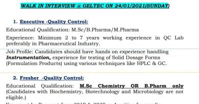 Geltec Pvt Ltd walkin 24th Jan 2021 for Msc Bpharm Mpharm Graduates