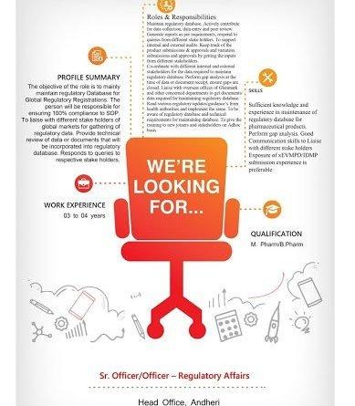 Glenmark Pharmaceuticals Ltd Openings for Regulatory Affairs team