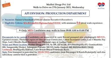 Maithri Drugs Pvt Ltd WalkIn Drive for Freshers and Experienced BSc Diploma SSC Candidates on 27th Jan 2021