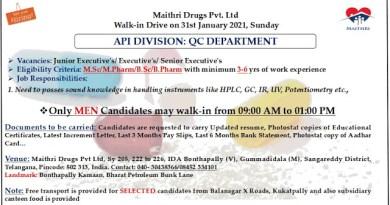 Maithri Drugs Pvt Ltd WalkIn Drive for MSc MPharm BSc BPharm Candidates Quality Control Department on 31st Jan 2021