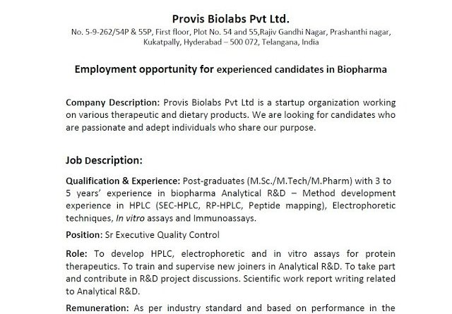 Provis Biolabs Pvt Ltd Openings for Experienced Candidates in Quality Control Department Apply Now