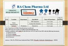 RA Chem Pharma Ltd WalkIn Interviews for Production on 22nd 23rd and 24th Jan 2021