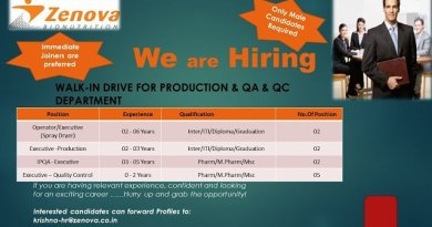 Zenova Bio Nutrition Pvt Ltd Urgent Openings for Production Quality Assurance Quality Control Departments Apply Now