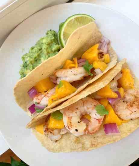 healthy Caribbean shrimp tacos with mango salsa