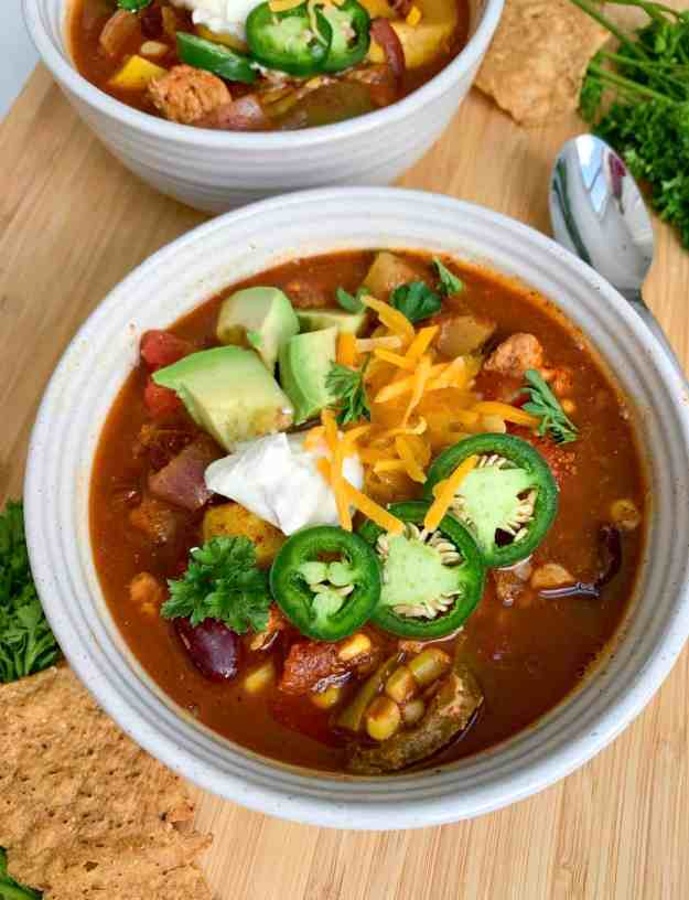 Best ever healthy turkey chili (low-carb, gluten-free, easy)