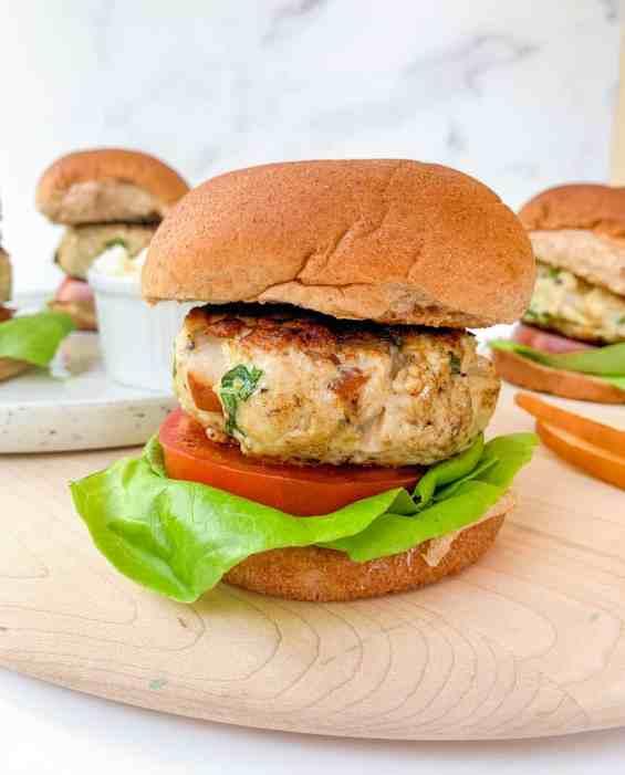 Healthy Pear Feta Turkey Burgers