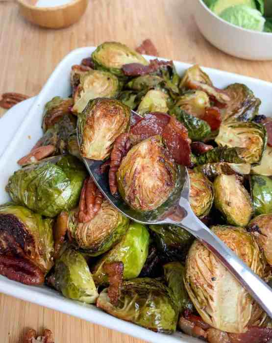 healthy maple roasted brussel sprouts with crispy bacon