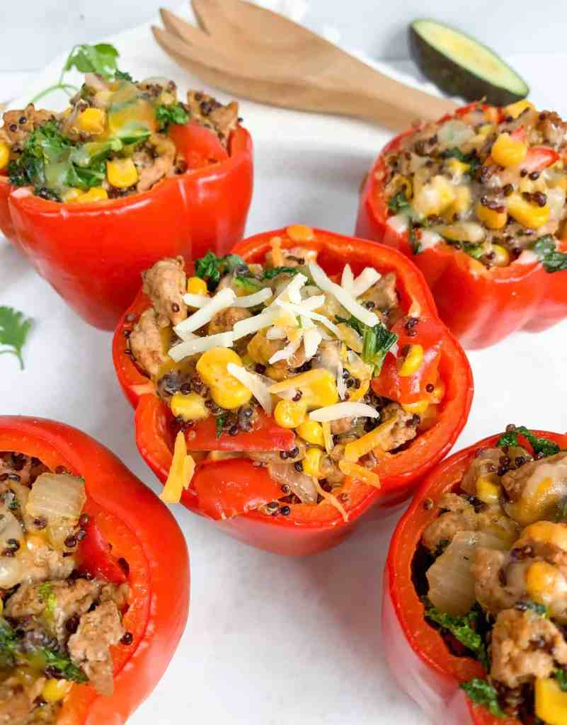 healthy Mexican turkey kale quinoa stuffed peppers