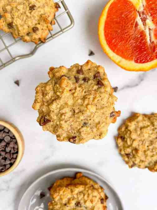 Best Chewy Orange Chocolate Chip Oatmeal Cookie that is gluten free,, low sugar and dairy free. Recipe by Healthful Blondie